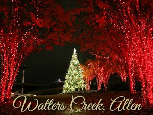 Watters Creek Shopping Center Christmas lights Allen TX