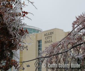 Allen City Hall after an ice storm TX