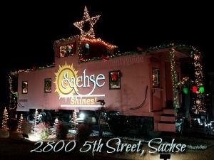 Sachse Caboose decorated for Christmas